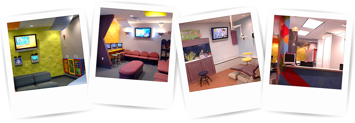 Four images of interior of Woodbury Pediatric Dentists & Orthodontists office